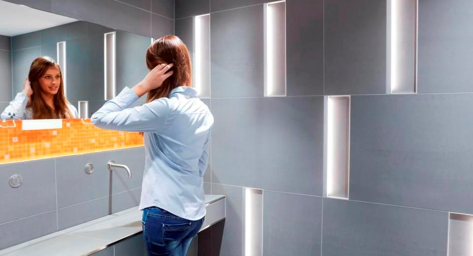 Bright LED light in the bathroom